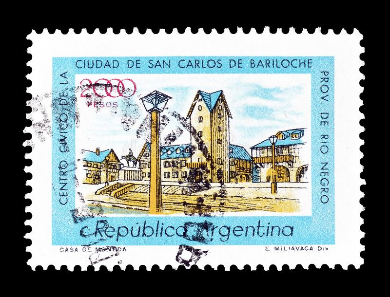 Argentina on postage stamps. Cancelled postage stamp printed by Argentina, that shows Civic Center Bariloche, circa 1977 royalty free stock image