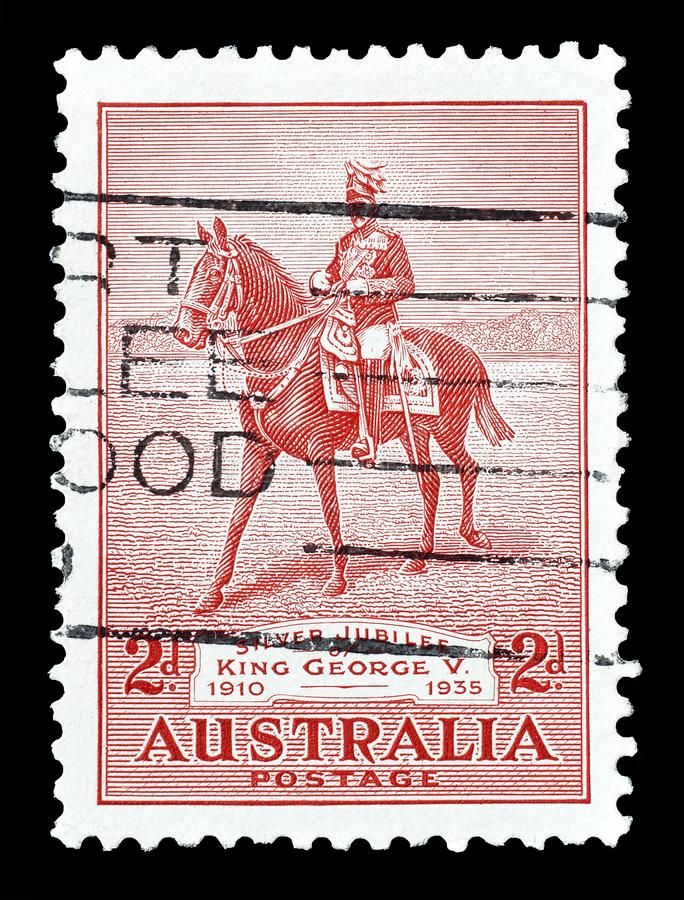 Cancelled postage stamp printed by Australia stock image