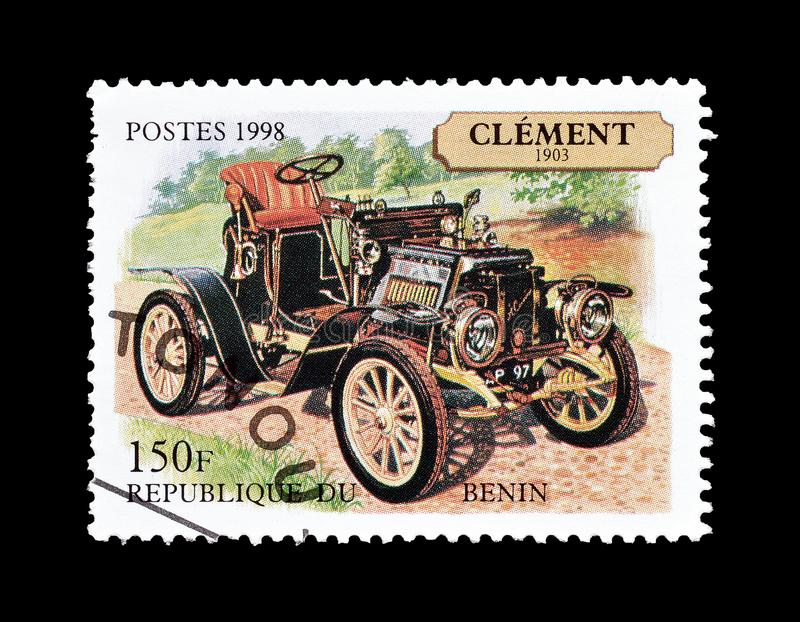 Old cars on postage stamps stock image