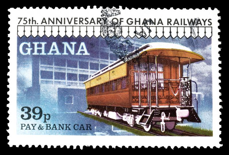 Ghana on postage stamps. Cancelled postage stamp printed by Ghana, that shows Pay and bank car, circa 1978 royalty free stock photography