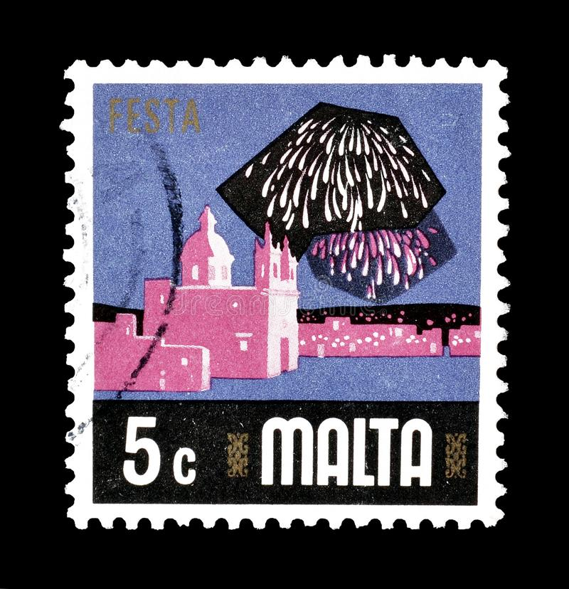 Malta on postage stamps. Cancelled postage stamp printed by Malta, that shows  Fiesta, circa 1978 royalty free stock images