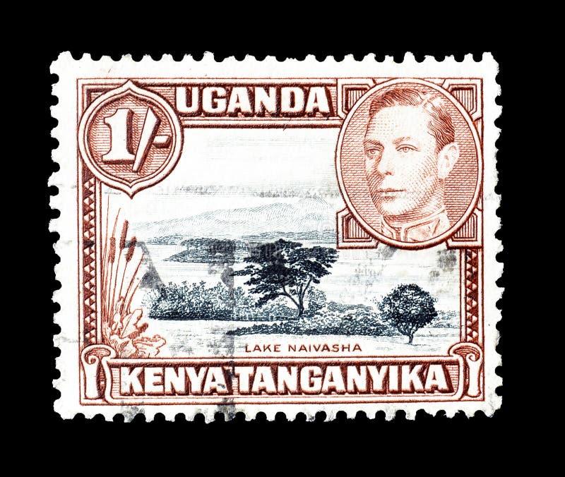 Cancelled postage stamp printed by Uganda, Kenya and Tanganyika stock photos