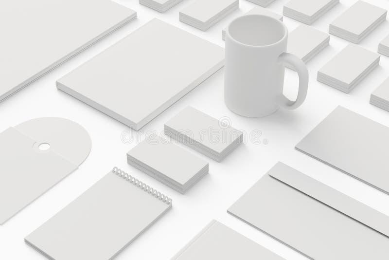 Cancelleria in bianco/insieme corporativo di identificazione isolato su bianco illustrazione di stock