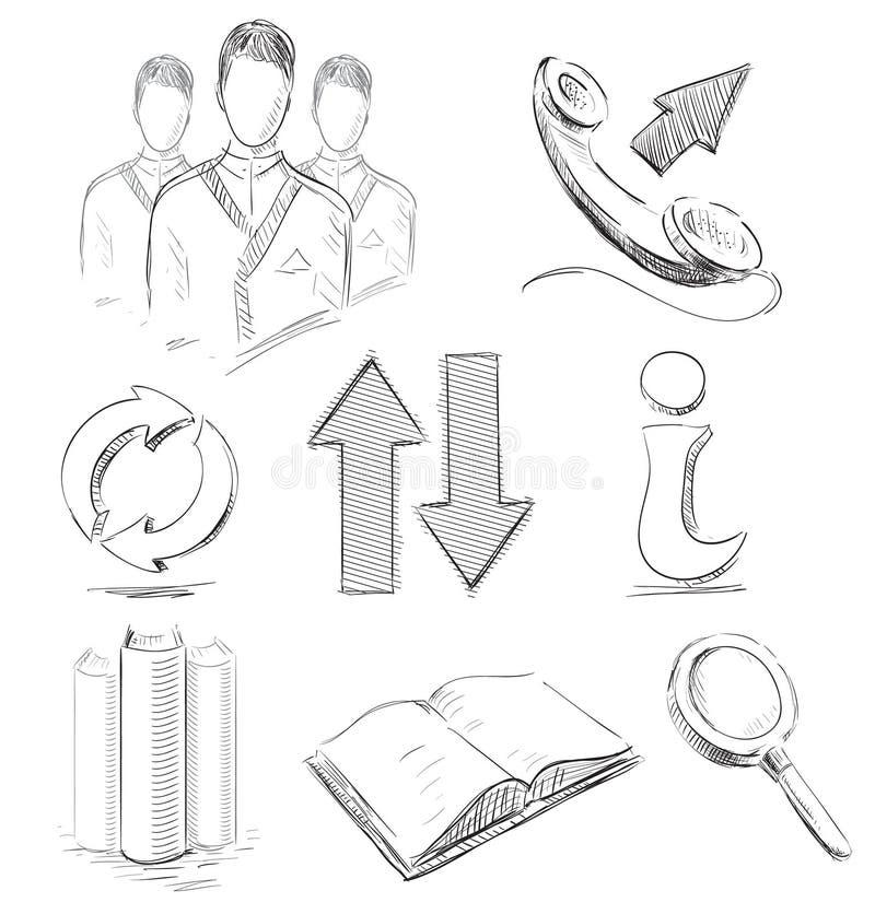 Cancelleria, comunicazione, icone di affari royalty illustrazione gratis