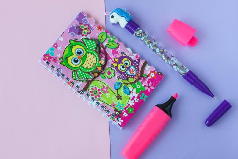 Cancelleria della scuola con la penna alla moda dell'unicorno e taccuino del residuo del gufo su un rosa e su un fondo bitonale p fotografie stock