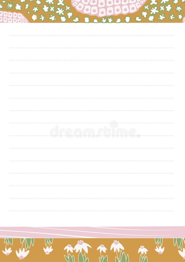 Cancelleria stampabile della carta da lettere di vettore nello stile di washi per le ragazze Spazio in bianco ed autoadesivi dell illustrazione vettoriale