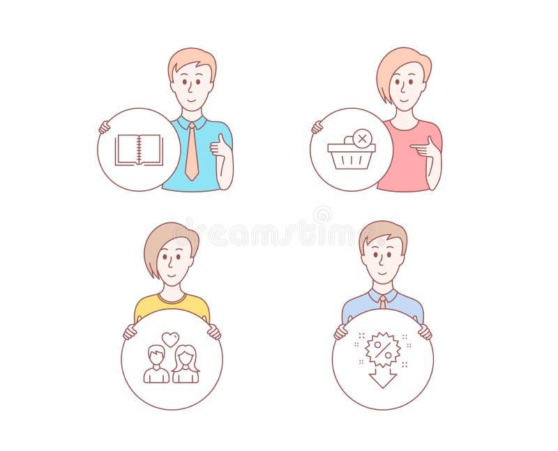 Cancelli le icone delle coppie e del libro di amore, dell'acquisto Segno di sconto Vettore illustrazione di stock