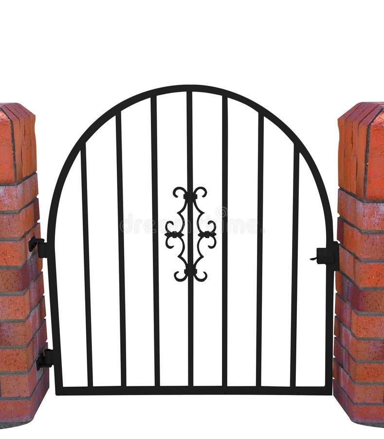 Cancello con le colonne del mattone immagine stock
