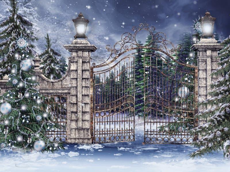 Cancello dell'annata con gli alberi di Natale royalty illustrazione gratis