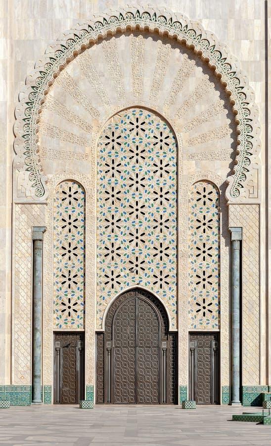 Cancello della moschea Casablanca Marocco del Hassan II fotografia stock libera da diritti