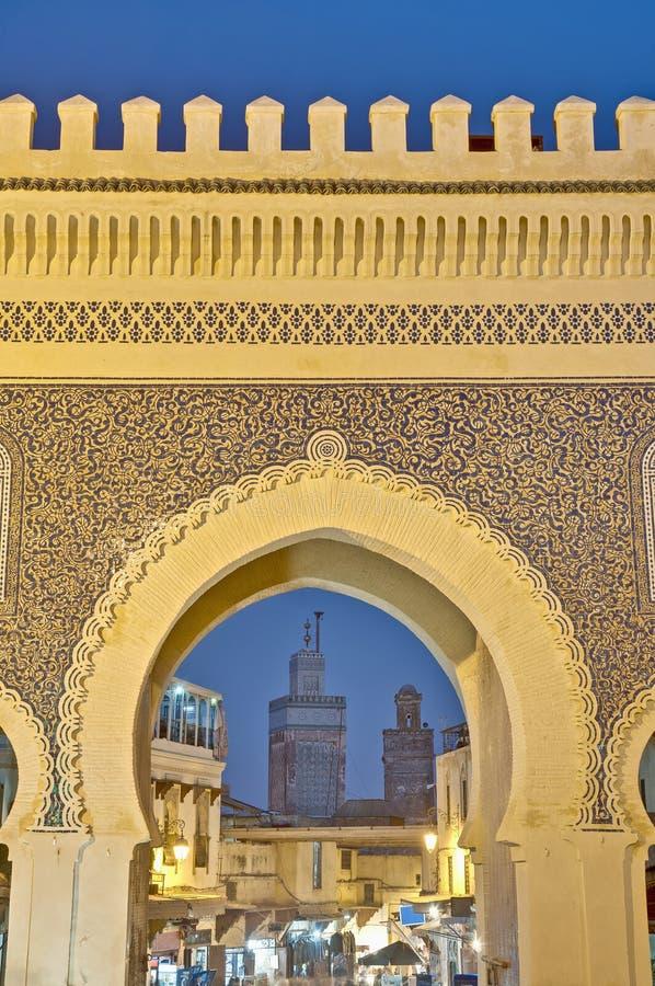 Cancello di Bab Bou Jeloud a Fes, Marocco immagine stock