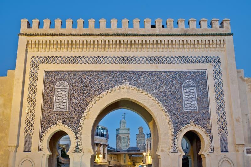 Cancello di Bab Bou Jeloud a Fes, Marocco fotografia stock libera da diritti