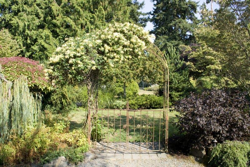 Cancello di giardino con i bei fiori immagini stock libere da diritti