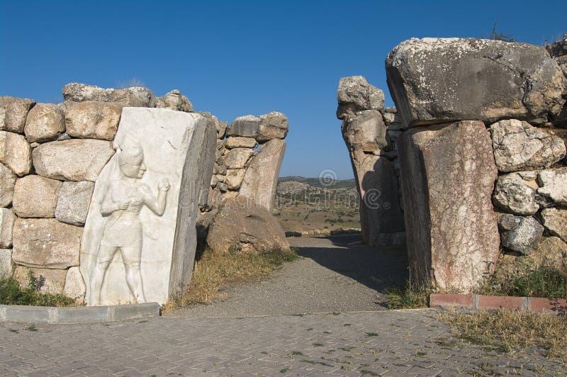 Cancello di Hattusa, il capitale del Hittite, Turchia fotografia stock libera da diritti