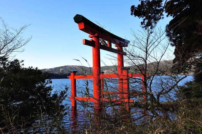 Cancello di Torii del santuario di Hakone immagini stock