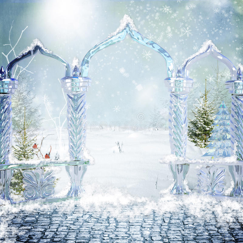 Cancello magico alla foresta di inverno illustrazione vettoriale