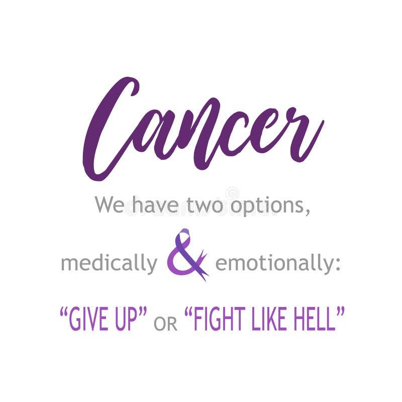 Canceröverlevanden citerar canceröverlevandecitationstecken för att ge upp eller slåss hårt stock illustrationer