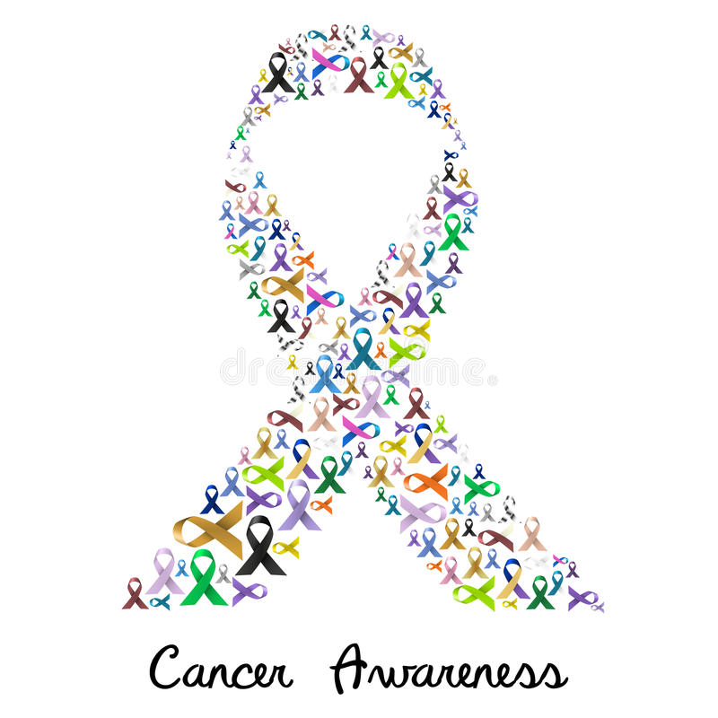 Cancer awareness various color and shiny ribbons for help like a big colorful ribbon eps10 royalty free illustration