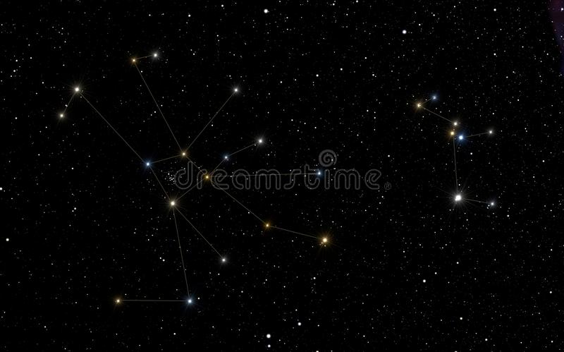 Cancer and Canis Minor constellations. Cancer constellations with Canis Minor constellation in the right part of the image royalty free illustration