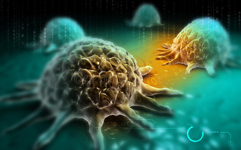 Cancer cell. Digital illustration of Cancer cell in colour background