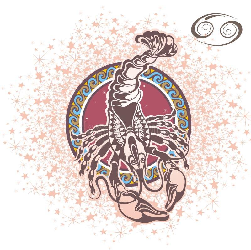 Cancer décoratif de signe de zodiaque illustration libre de droits