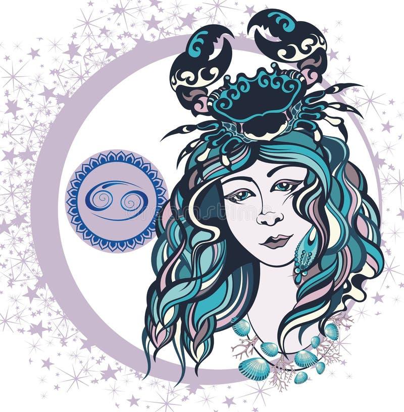 Cancer décoratif de signe de zodiaque illustration stock
