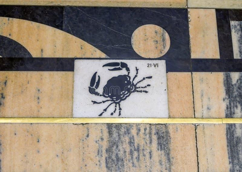 Cancer de signe de zodiaque suivant la ligne méridienne du cadran solaire dans Milan Cathedral, Italie photo stock