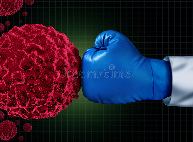 Cancer Fight. Medical concept with an arm of a doctor wearing a blue boxing glove fighting a group of malignant human cells as a health care metaphor for vector illustration