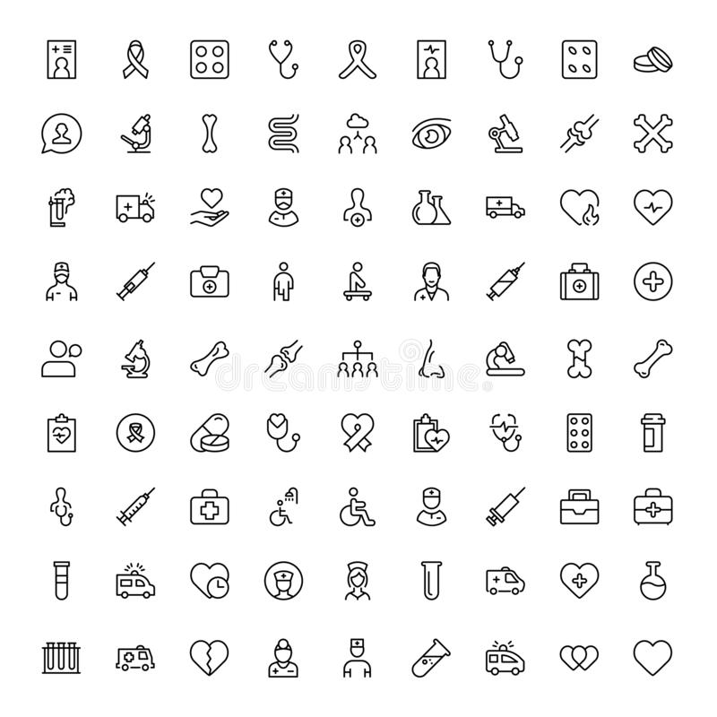 Cancer flat icon. Cancer icon set. Collection of vector symbols on white background for web design. Black outline sings for mobile application royalty free illustration