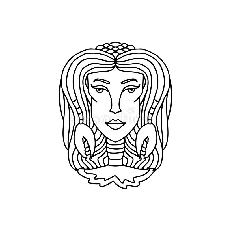 Cancer girl portrait. Zodiac sign for adult coloring book. Simple black and white vector illustration. Cancer girl portrait. Zodiac sign for adult coloring book vector illustration