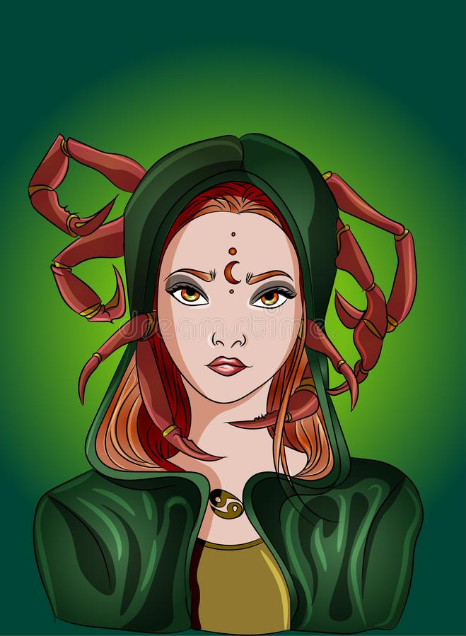 Cancer girl zodiac sign, astrology  illustration, girl with crab pincels, claws astrological. Green, brown, earth tones moon stock illustration