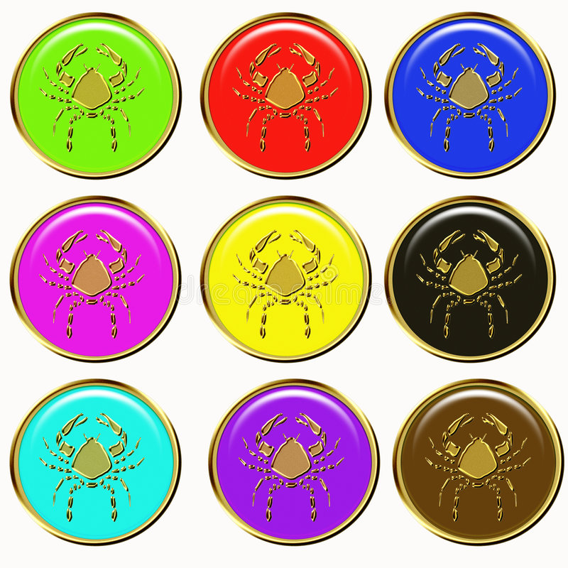 Download Cancer horoscope buttons stock illustration. Image of golden - 6921651