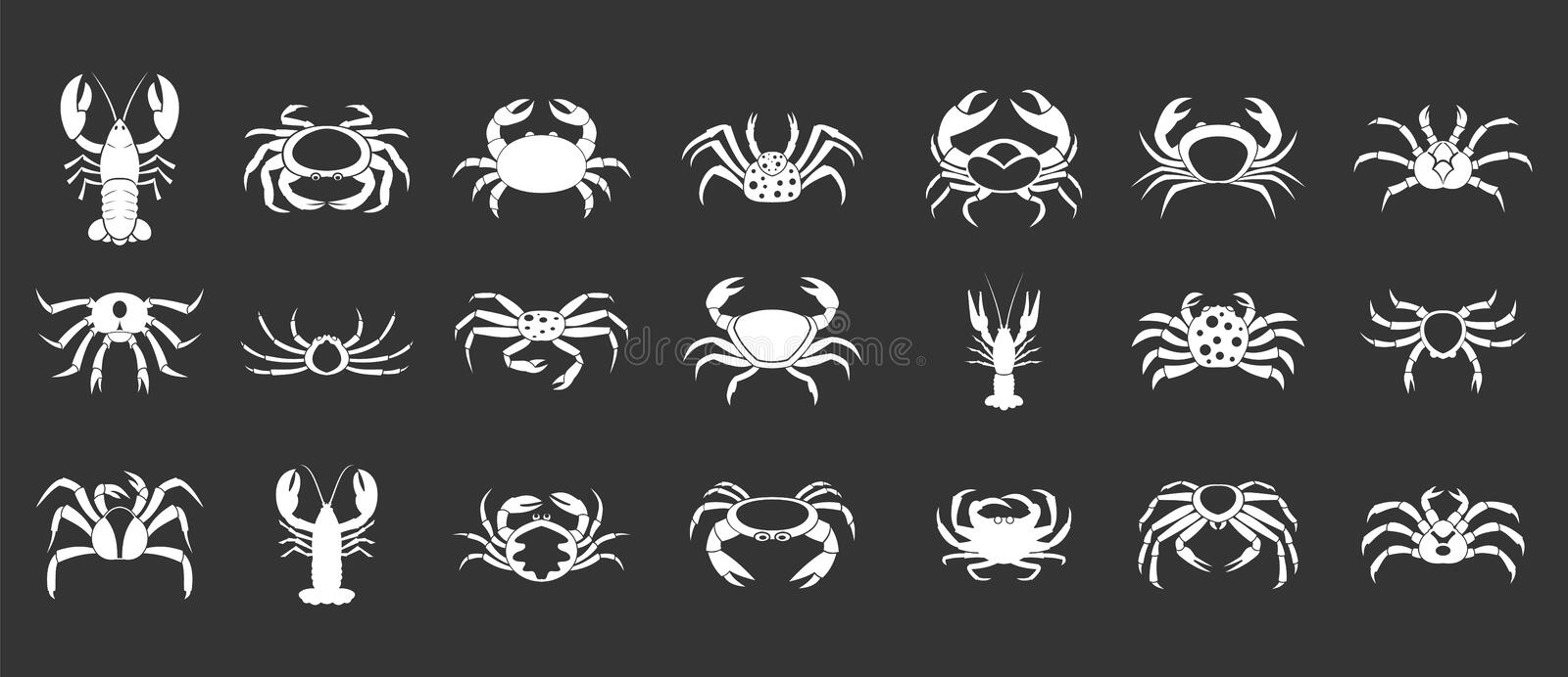 Cancer icon set grey vector. Cancer icon set vector white isolated on grey background royalty free illustration