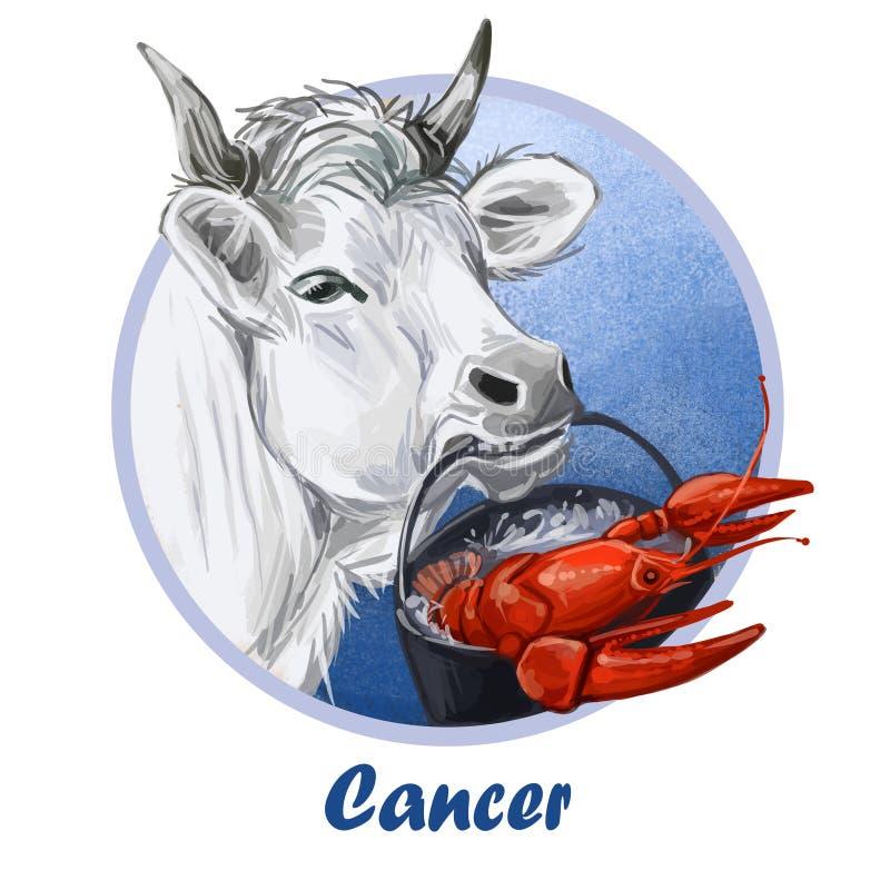 Cancer metal ox year horoscope zodiac sign isolated. Digital art illustration of chinese new year symbol, astrology royalty free illustration