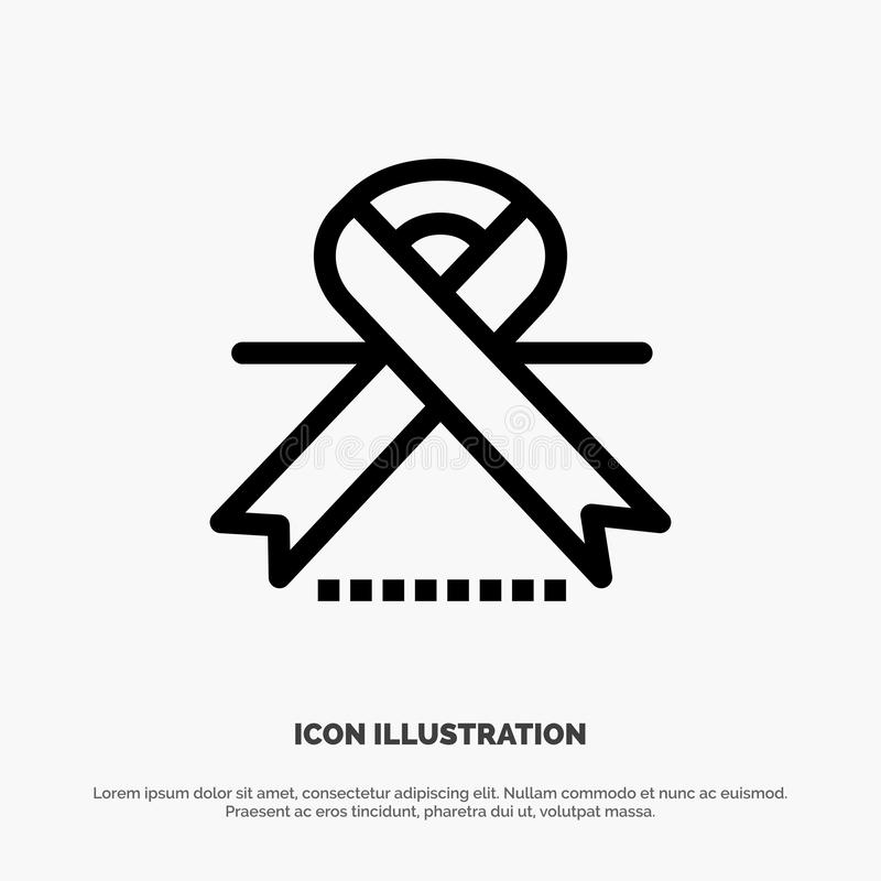 Cancer, Oncology, Ribbon, Medical Line Icon Vector royalty free illustration
