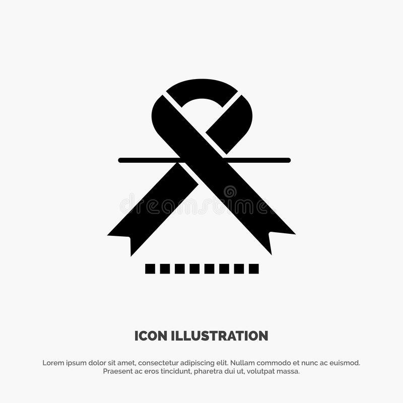 Cancer, Oncology, Ribbon, Medical solid Glyph Icon vector vector illustration