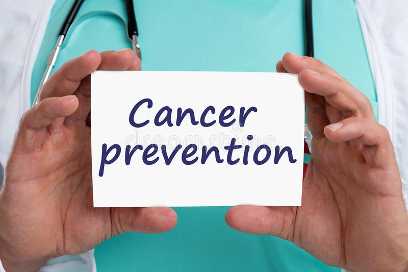 Cancer prevention screening check-up disease ill illness healthy. Health doctor with sign stock photos