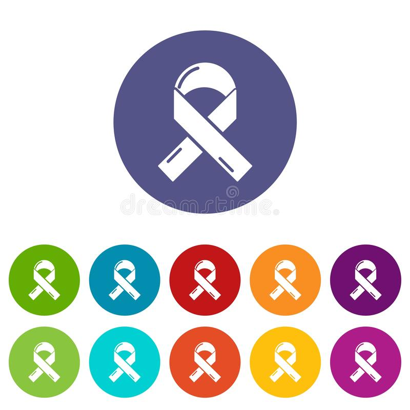 Cancer ribbon icons set vector color. Cancer ribbon icons color set vector for any web design on white background vector illustration