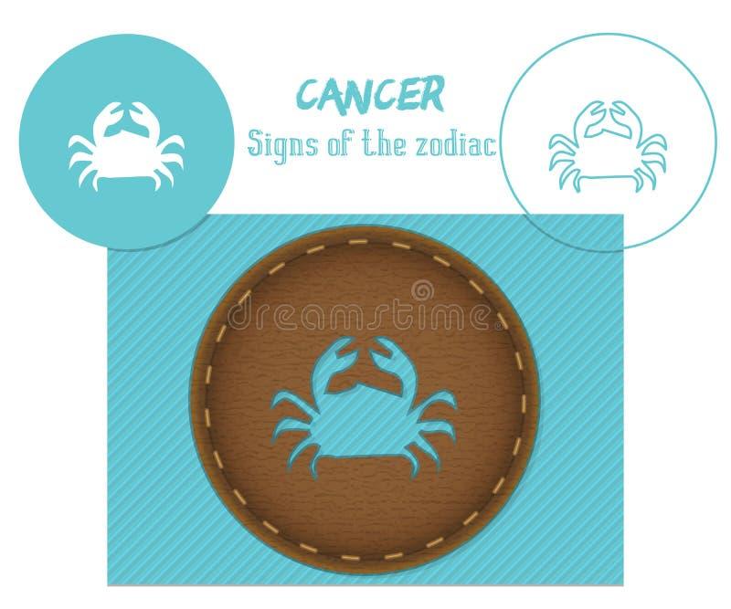 cancer Sinais do zodíaco Corte do laser E ilustração royalty free