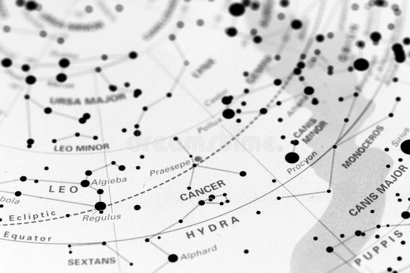 Cancer sur la carte d'étoile photographie stock