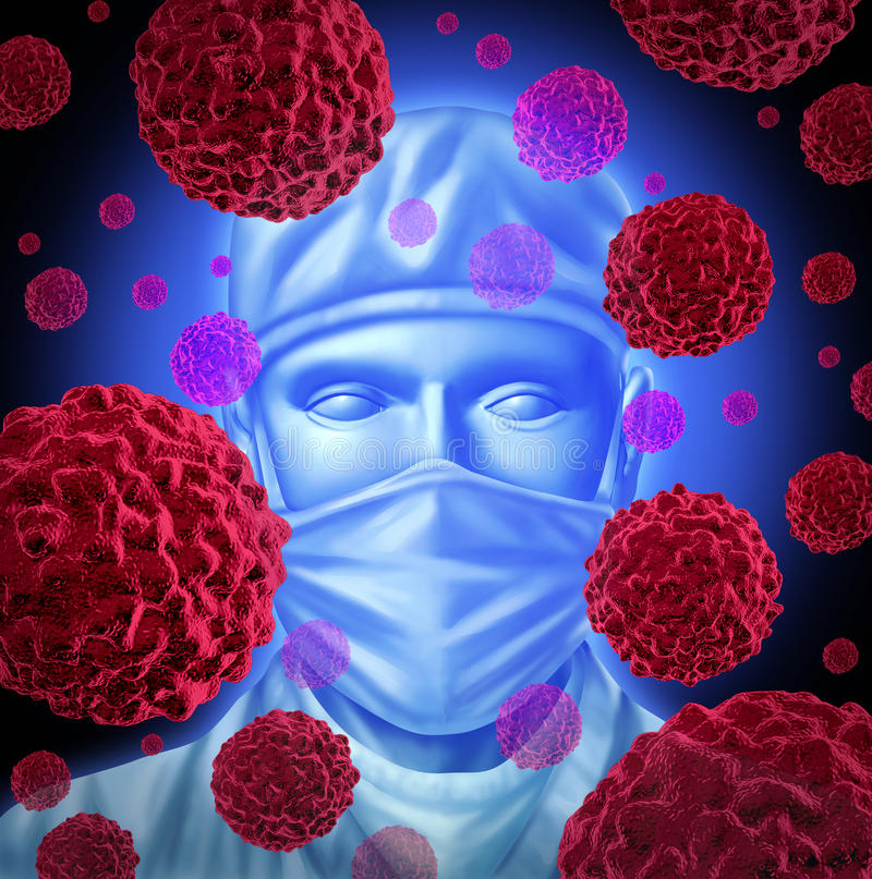 Cancer Surgery. With a surgeon to operate on patients with common cancer treatment for breast cancer prostate cancer colon cancerous malignant red cells over stock illustration
