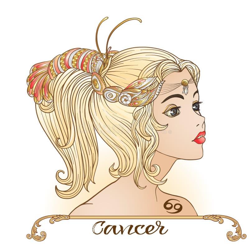 cancer Une jeune belle fille sous forme d'un des signes o illustration de vecteur