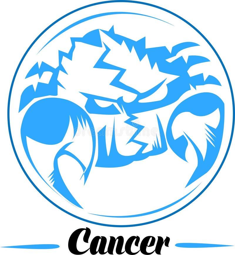Cancer zodiac sign artwork, blue beautiful horoscope symbol, vector illustration at circle background. Beautiful horoscope cancer zodiac simple blue line art in royalty free illustration
