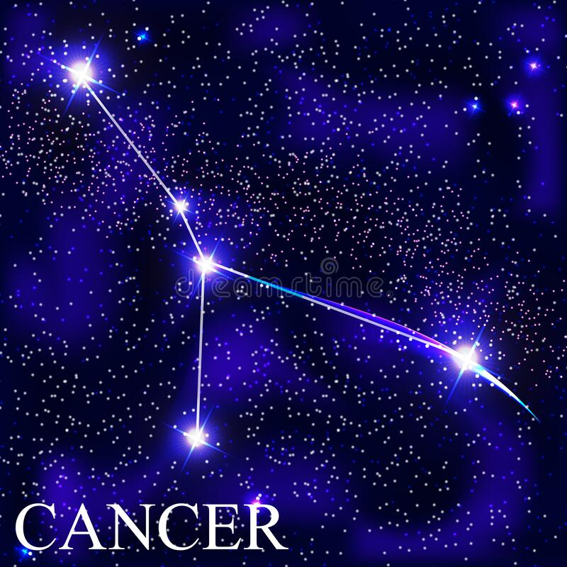 Cancer Zodiac Sign with Beautiful Bright Stars on the Background of Cosmic Sky Vector Illustration. EPS10 vector illustration