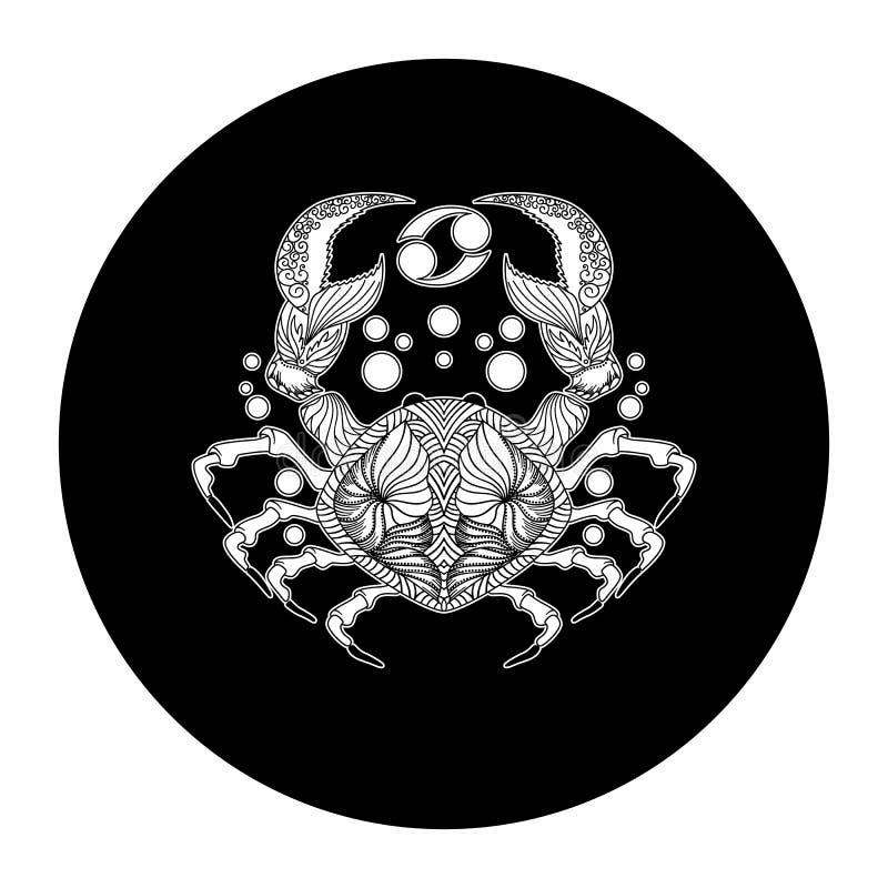 Cancer zodiac sign, horoscope symbol, vector illustration. Black and white vector illustration