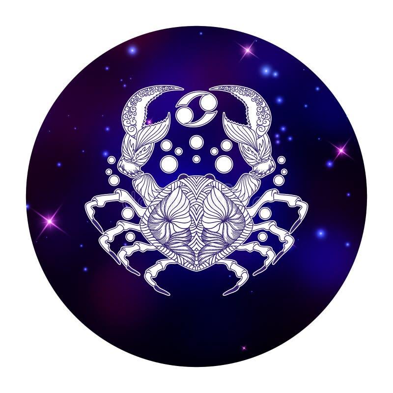 Cancer zodiac sign, horoscope symbol, vector illustration. Cancer zodiac sign, horoscope symbol on space background, vector illustration vector illustration