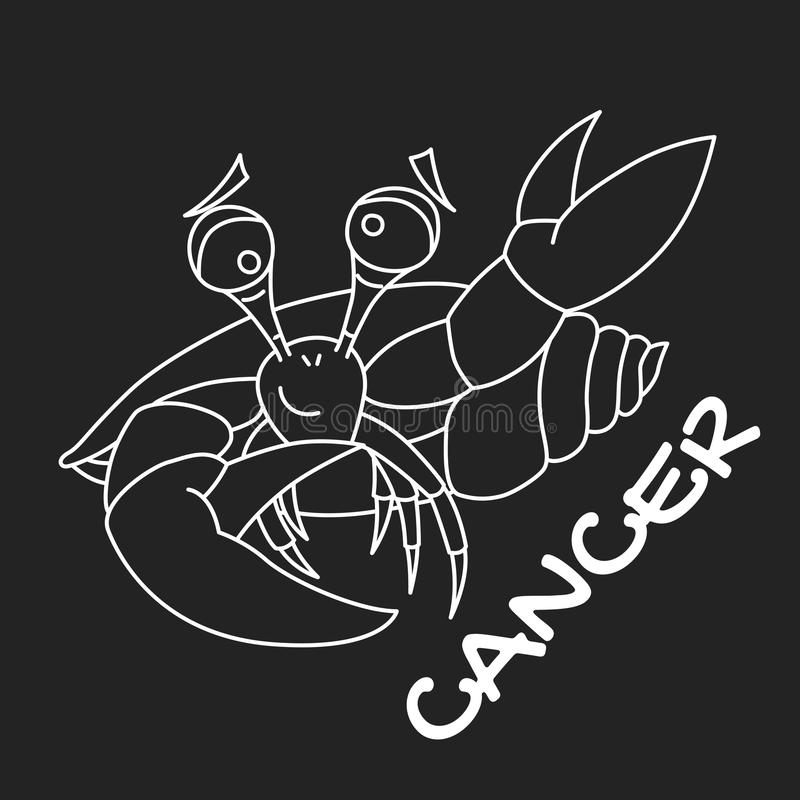 Cancer zodiac sign for horoscope in vector EPS8. Cancer zodiac sign for horoscope, white on black background isolated, vector EPS8 vector illustration