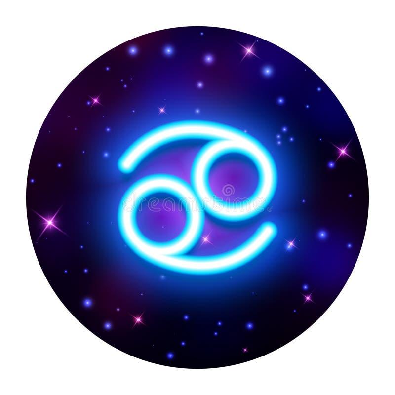 Cancer zodiac sign, horoscope symbol, vector illustration. Cancer zodiac sign on space background, horoscope symbol, vector illustration stock illustration