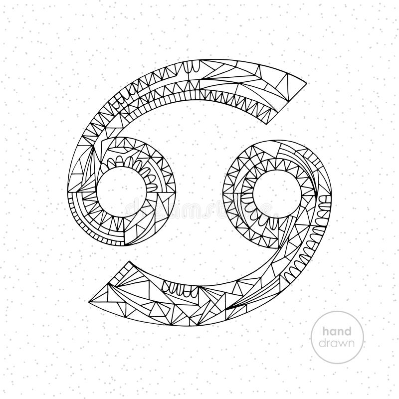 Cancer zodiac sign. Vector hand drawn horoscope illustration. Astrological coloring page. vector illustration