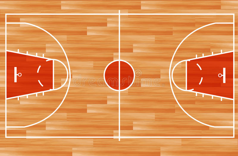 Cancha de básquet de madera del vector libre illustration
